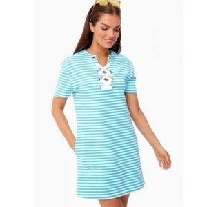 Persifor Striped Anna Dress Turquoise Blue White